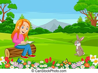 Cartoon little girl reading a book in the park