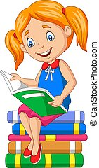 Cartoon little girl reading a book on the pile books
