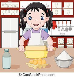 Cartoon little girl stretching the dough - Vector...