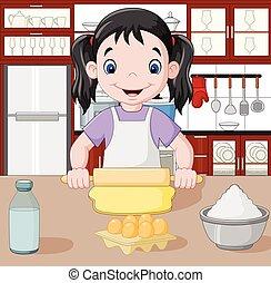 Cartoon little girl stretching the dough - Vector ...