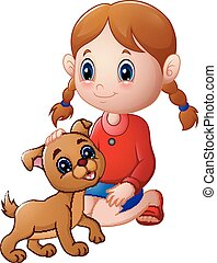 Cartoon little girl stroked the dog's head