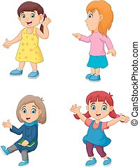 Cartoon little girl with different posing