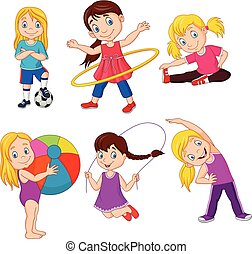 Cartoon little girls with different hobbies