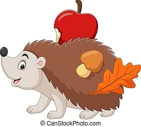 Cartoon little hedgehog carries an apple with mushroom and leaf on his back