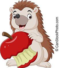 Cartoon little hedgehog holding bitten red apple