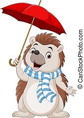 Cartoon little hedgehog in a scarf with umbrella