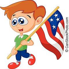Cartoon little kid holding
