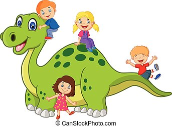 Cartoon little kid playing on the d - Vector illustration of...