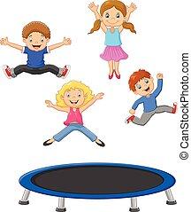 Cartoon little kid playing trampoli
