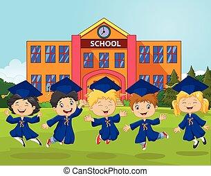 Cartoon little kids celebrate
