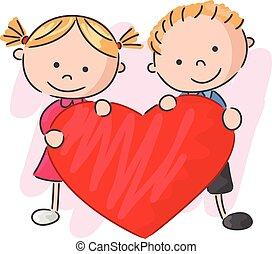 Cartoon little kids holding love