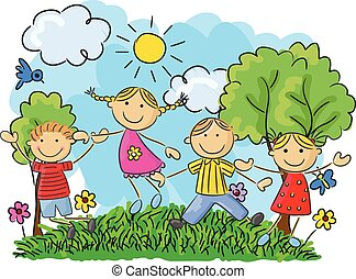 Cartoon little kids jumping and dan