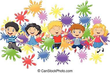 Cartoon little kids jumping