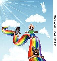 Cartoon little kids playing slide - Vector illustration of ...