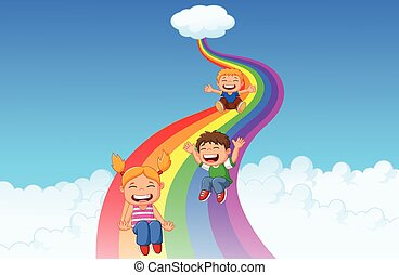 Cartoon little kids playing slide r - Vector illustration of...