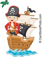 Cartoon little pirate on his ship