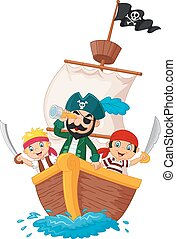 Cartoon little pirate was surfing t - Vector illustration of...