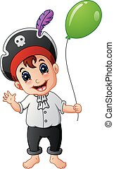 Cartoon little pirate with green balloon