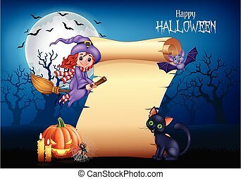 Cartoon little witch flying on a broomstick with halloween background