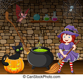 Cartoon little witch holding a broomstick in the room