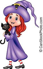 Cartoon little witch holding black cat