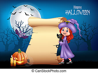 Cartoon little witch hugging black cat with Halloween background