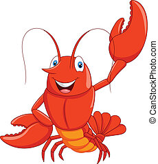 Cartoon lobster waving - vector illustration of Cartoon...