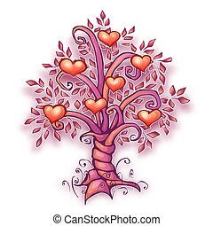 Vector illustration of cartoon love tree with hearts