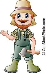 Cartoon lumberjack holding an axe waving