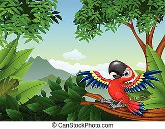 Cartoon macaw in the jungle