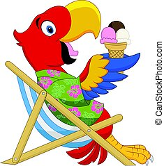 Cartoon macaw sitting on beach chair and eating an ice cream...