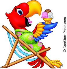 Cartoon macaw sitting on beach chair and eating an ice cream