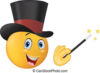 Cartoon magician in top hat with ma - Vector illustration of...