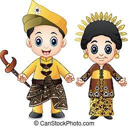Cartoon Malaysia couple wearing traditional costumes