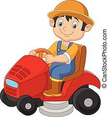 Cartoon male gardener riding mowing