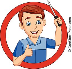 Cartoon male workers holding a screwdriver