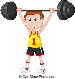 Cartoon man lifting barbell - Vector illustration of Cartoon...