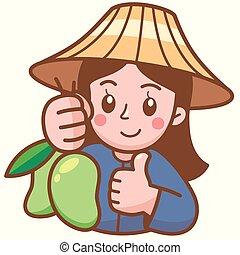 Mango - Vector illustration of Cartoon Mango seller ...