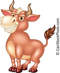 Cartoon mascot bull with large horn