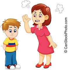 cartoon Mather scolding her son - vector illustration of...