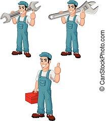 Cartoon mechanic collection set