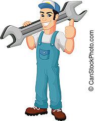 Cartoon mechanic holding a huge wre