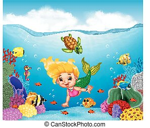Cartoon mermaid with beautiful underwater world