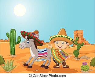 Cartoon Mexican boy with donkey