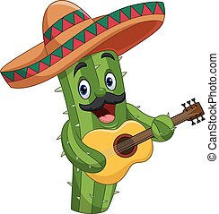 Cartoon Mexican Cactus playing guitar