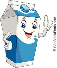 Cartoon milk box giving thumb up