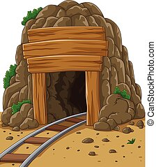 Cartoon mine entrance - Vector illustration of Cartoon mine...