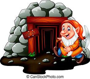 Cartoon mine entrance with dwarf miner