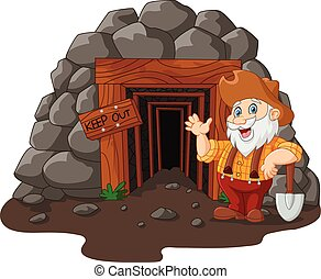 Cartoon mine entrance - Vector illustration of Cartoon mine ...