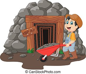 Cartoon mine entrance with gold miner holding shovel -...
